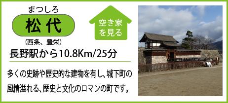 松代(西条、豊栄) 長野駅から10.8Km/25分 多くの史跡や歴史的な建物を有し、城下町の 風情溢れる、歴史と文化のロマンの町です。