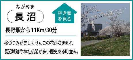 長沼 長野駅から11Km30分 桜づつみが美しくりんごの花が咲き乱れ長沼城跡や神社仏閣が多い歴史ある町並み。