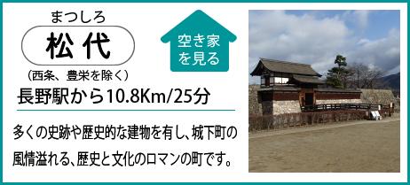 松代(西条、豊栄を除く) 長野駅から10.8Km/25分 多くの史跡や歴史的な建物を有し、城下町の 風情溢れる、歴史と文化のロマンの町です。